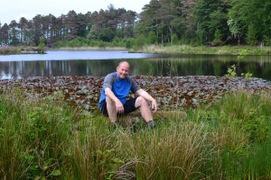 Bri at Muncaster tarn on the Eskdale cycle trail