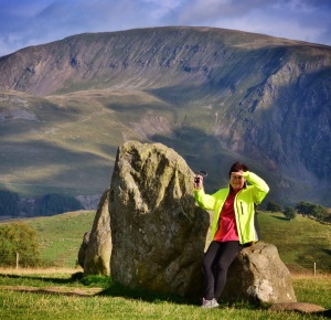Suzie at Castlerigg Stone Circle
