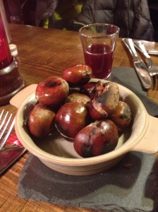 Chestnuts and shot starter. Bri wasn't impressed!