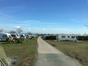Arriving onto Upwood Holiday Park.  Our pitch was allocated to us.