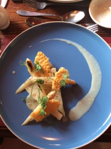Suzie's starter: Grilled white asparagus with onion & lemon veloute & parmesan crisp