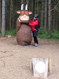 Bri meets and chin tickles the Gruffalo