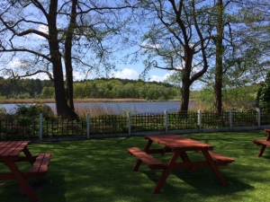 Lakeside beer garden at The Carriers Inn