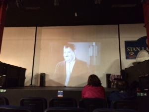 Small cinema within the museum, showing back to back Laurel & Hardy clips