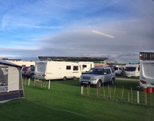 Pitched up, with course viewing stand in the distance