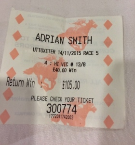 A winning ticket - hoorah! 🏇🏇🏇