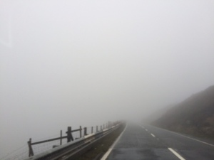 A daunting drive through the fog on the way out of Hope Valley