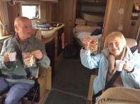 Mum & Dad enjoying a mulled wine & gingerbread Santa
