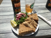 Crab sandwich and chilled cider at Beach Shack Bar