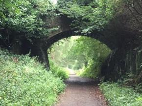 Track under an old railway bridge