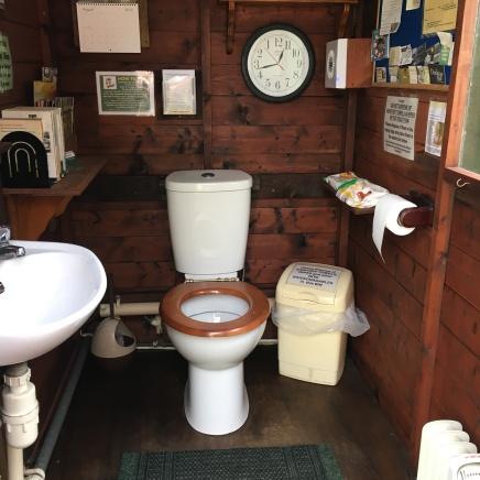 Inside the toilet hut
